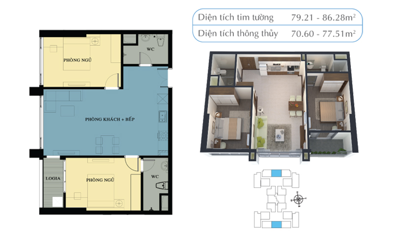 Mặt bằng căn hộ 70,6m2 và 77,51m2
