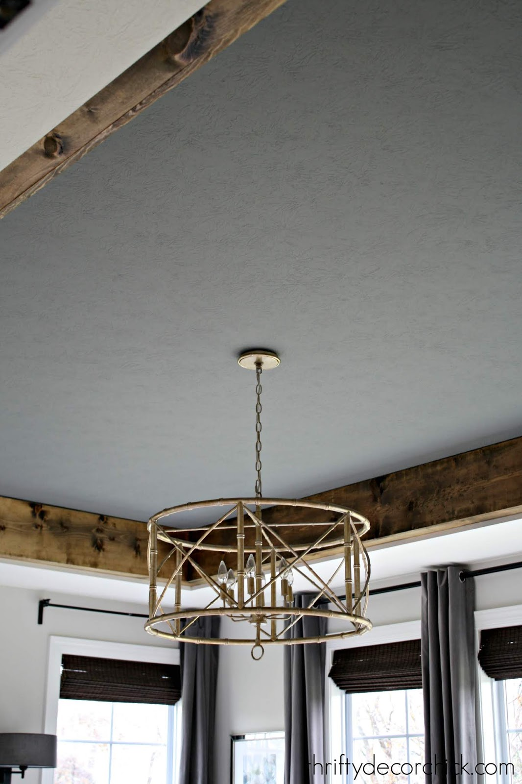 DIY wood beams and painted tray ceiling