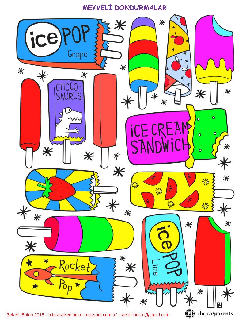 şekerli Balon Dondurma Boyama