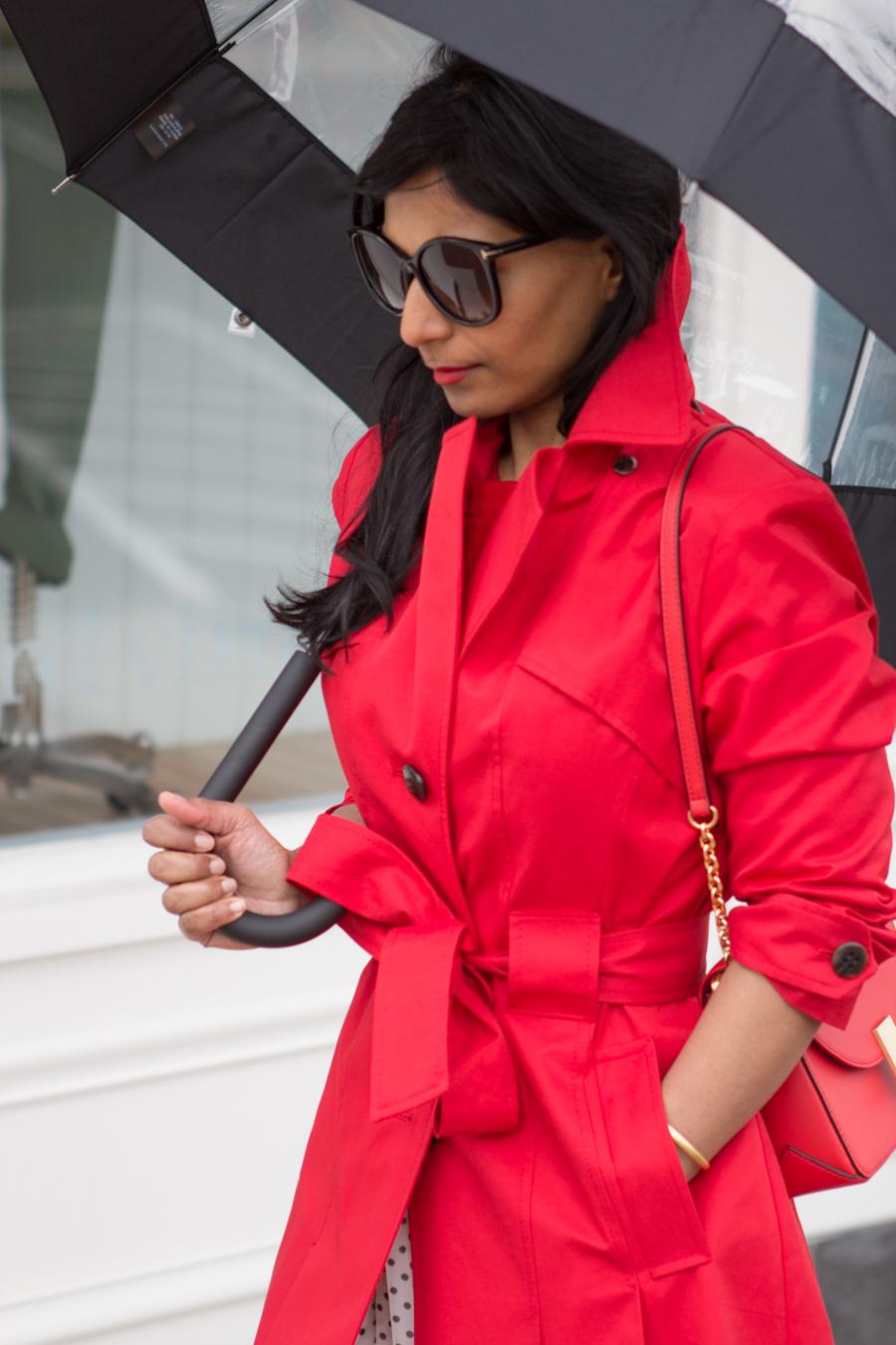 rainy day style, trench coat, red coat, raincoat, single-breasted trench, bright red coat, petite raincoat, red bag, cross-body bag, flynn, hunter, rainwear, mommy style, mom style, elegant look, chic, street style, white pumps, polka dot, umbrella