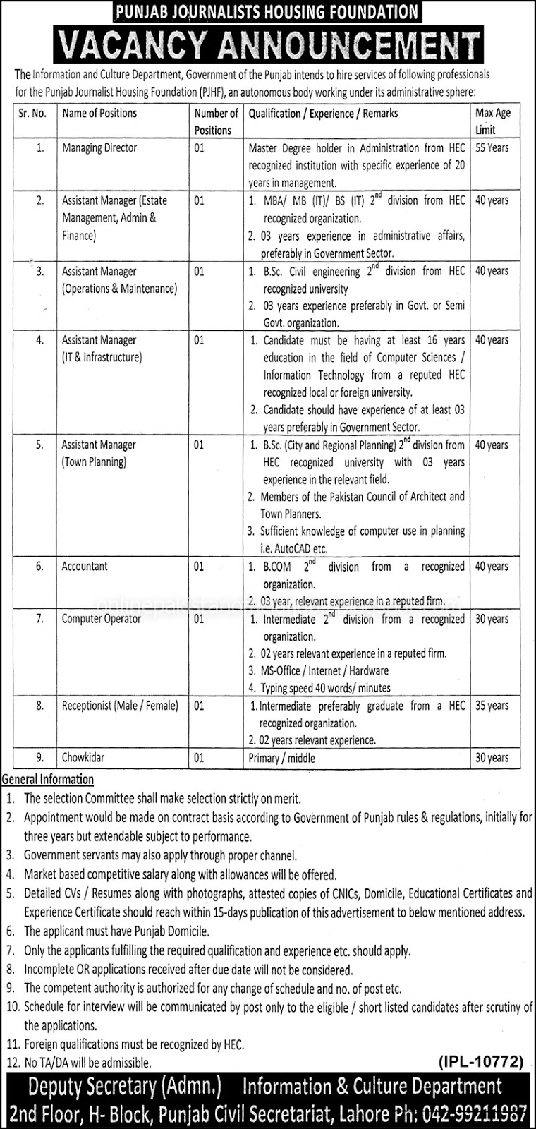 Punjab Journalists Housing Foundation Lahore Jobs 2016