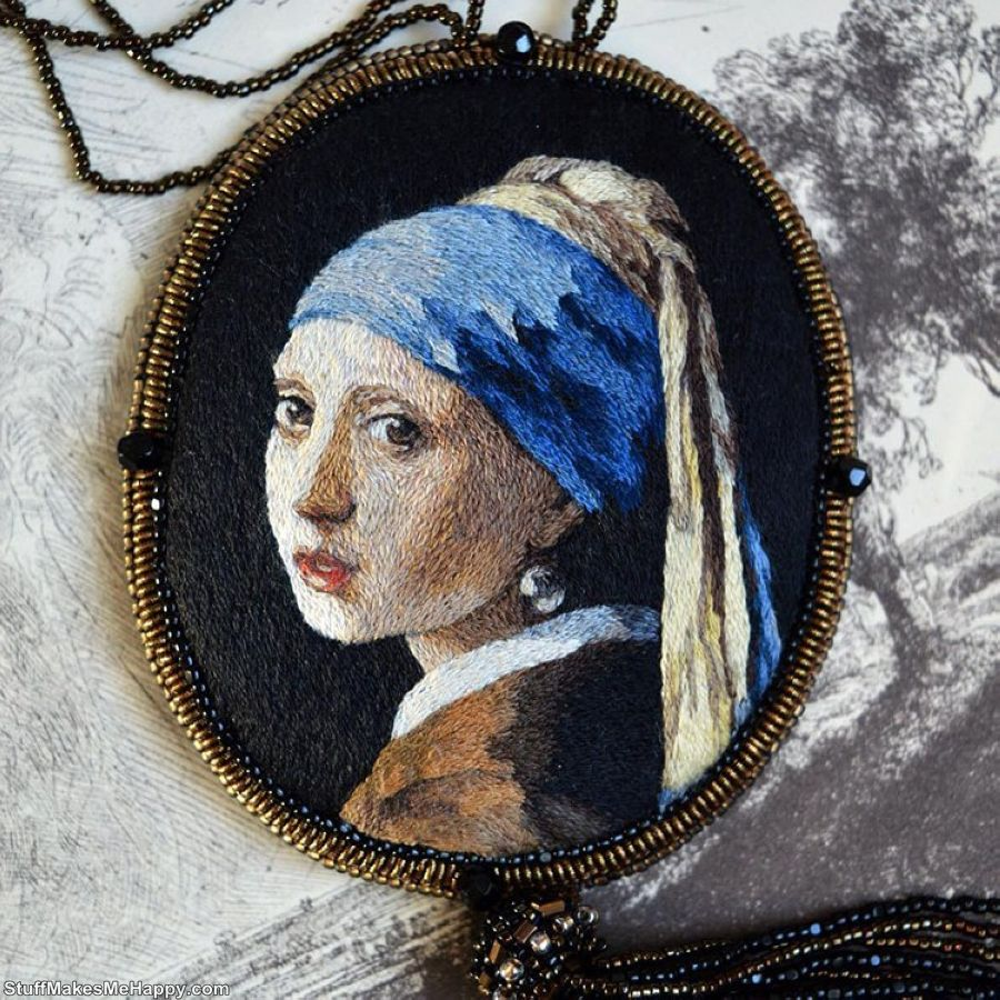 9. Embroidery with the smoothness of world masterpieces of painting by Maria Vasilyeva