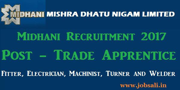 Midhani Apprentice Recruitment 2017, Midhani careers, Midhani ITI jobs
