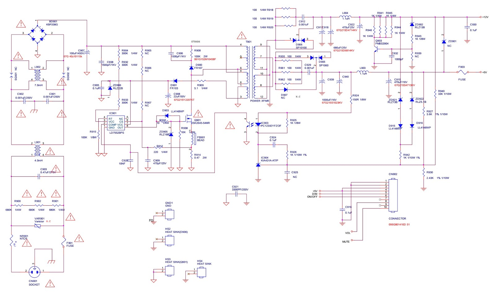Smps and back light inverter circuit diagram schematic