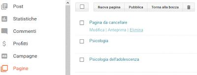 Come eliminare una pagina su blogger