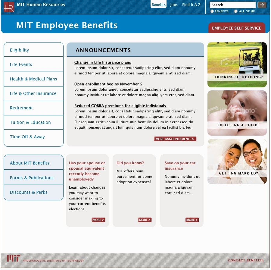 Benefits home page