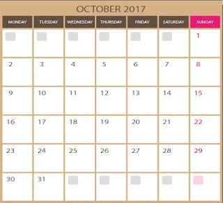blank calendar for october 2017 in vector format for free - printable and editable  in photoshop  and illustrator qualities ( images eps and ai formats) . Downloads for free