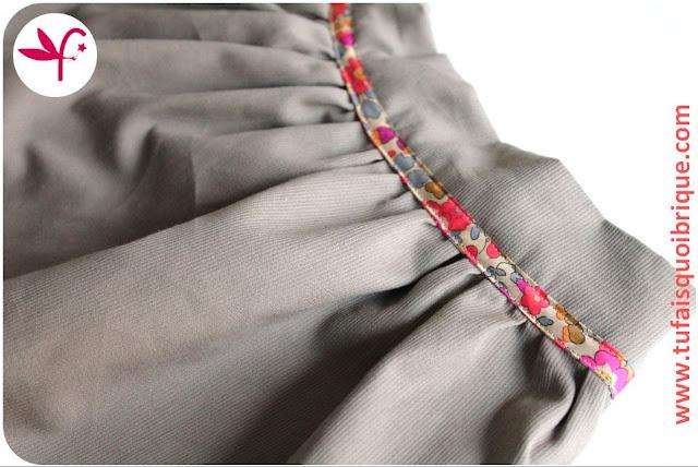 jupe dos élastiqué pour fille de 2 à 10 ans - Détail devant