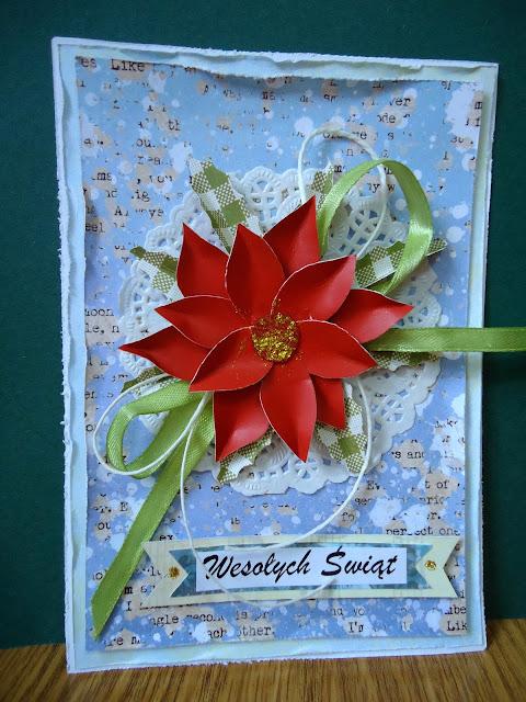 kartka z gwiazdą betlejemską, rękodzieło, kartka hand made