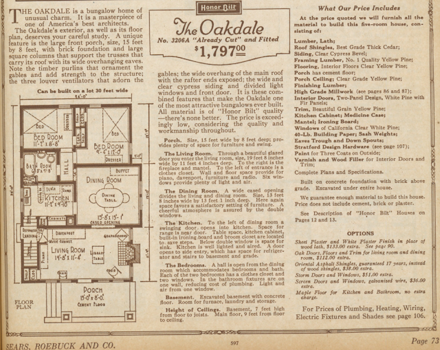 Sears Oakdale floor plan from 1925 catalog