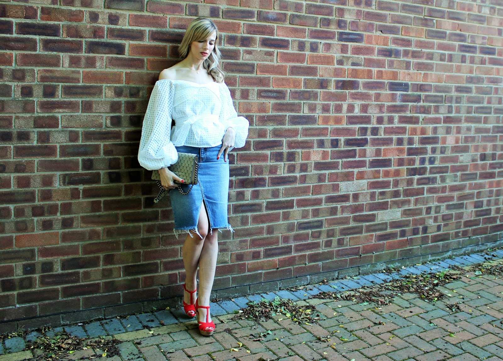 OOTD featuring Shein off the shoulder top, H&M denim skirt and Gucci dupe bag and New Look wedges
