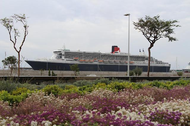 a cruise ship in the garden