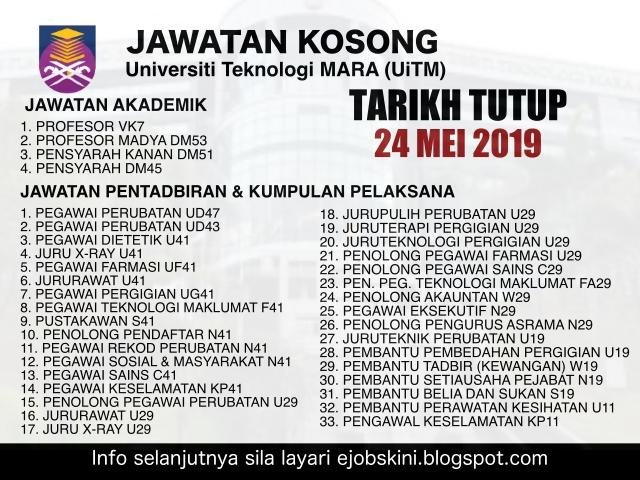 Jawatan Kosong Terkini Uitm 37 Jawatan Yang Ditawarkan Tarikh Tutup 24 Mei 2019