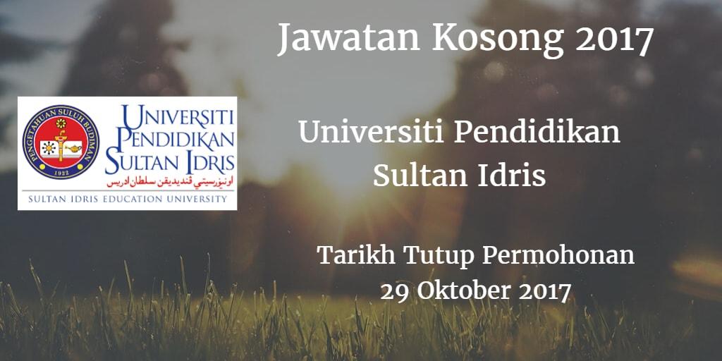 Jawatan Kosong UPSI 29 Oktober 2017
