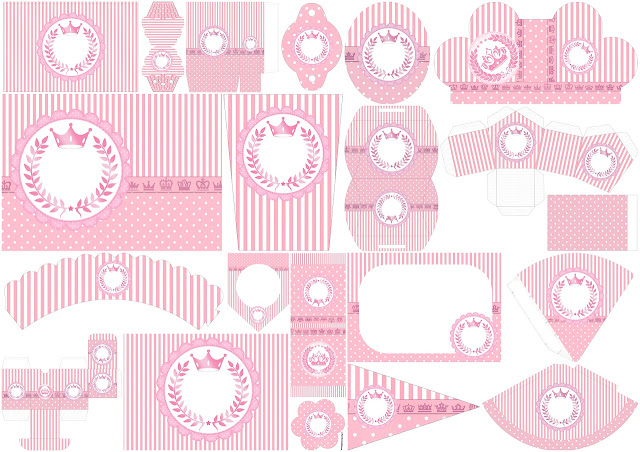 Pink Crown in Stripes and Polka Dots: Free Printable Kit for Weddings.