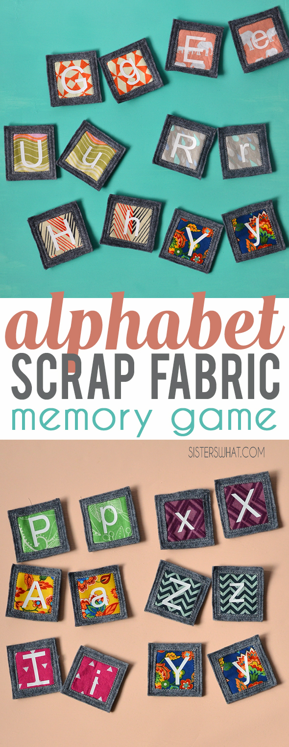 A fun DIY craft projects using fabric scraps to make an abc fabric memory game for your little kids to play.