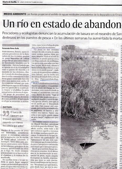 Artículo de denuncia sobre el abandono de los puestos de pescas en el río a su paso por San Jerónimo