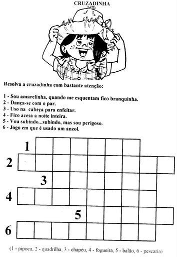 Palavras Cruzadas - Atividade Junina.