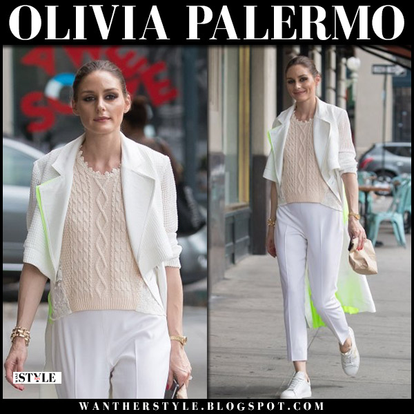 Olivia Palermo in white coat, knit top, white pants and white sneakers street style august 2018