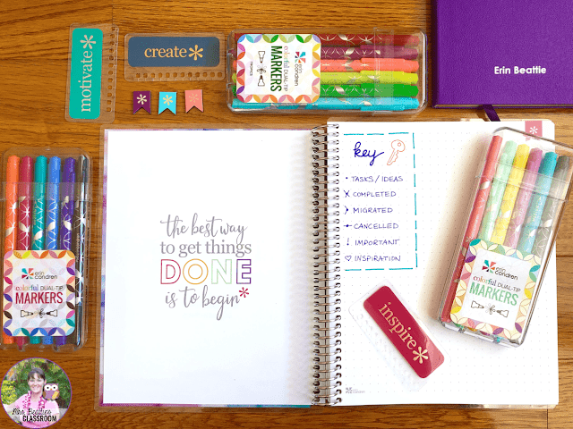 Journaling Supplies - Coiled Notebook and accessories from Erin Condren
