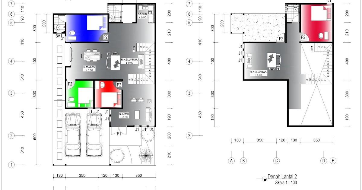 Denah Rumah 95 x 13 m  Lahan 108 x 17 m  2 Lantai