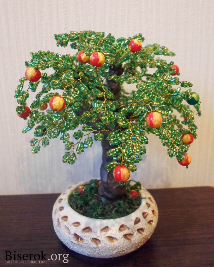 Яблоня из бисера мастер класс фото #1