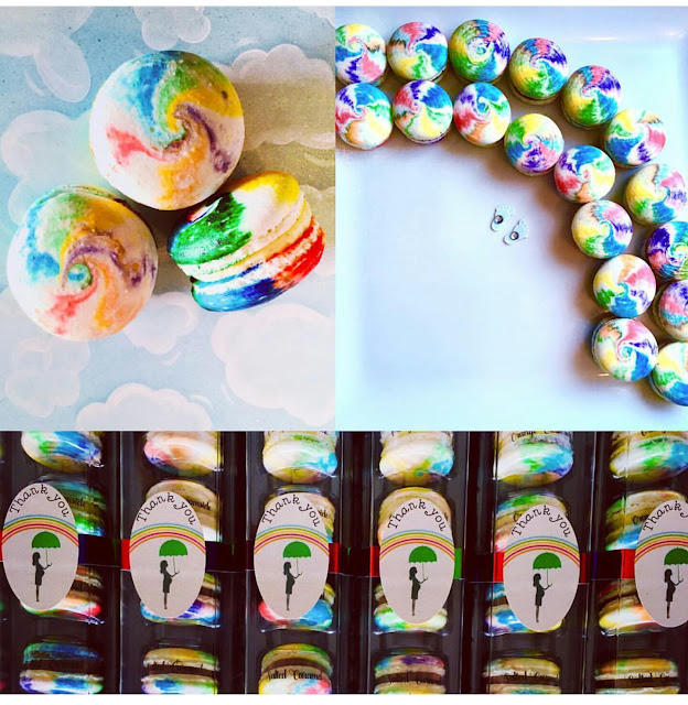 colourful rainbow macarons collage