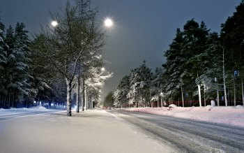 Wallpaper: Street Lights Winter Snow Scenery