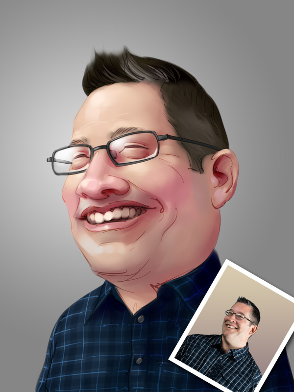 professional caricature digital painting of a man