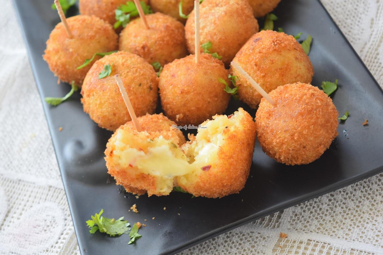 Poha Potatoes Cheese Croquettes Recipe - पोहा आलू चीज़ बॉल्स रेसिपी - Priya R - Magic of Indian Rasoi