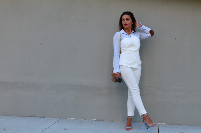 instagram, white pants, white suite, summer layering, how to layer in the summer, summer outfit, toronto blogger, valentino rockstud, pastel blue sandals, block heel sandals, schutz block heel sandal, best summer outfit, how to wear white pants