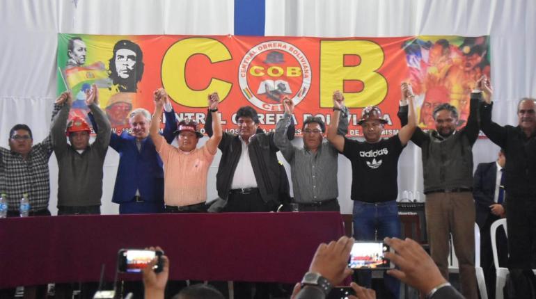 La COB proclamó al binomio de mandatarios - candidatos Morales y Garcia el 20 de noviembre / LOS TIEMPOS