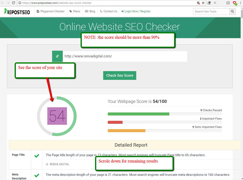 Online SEO Score checker tools - RENVA DIGITAL d0f43d3c704