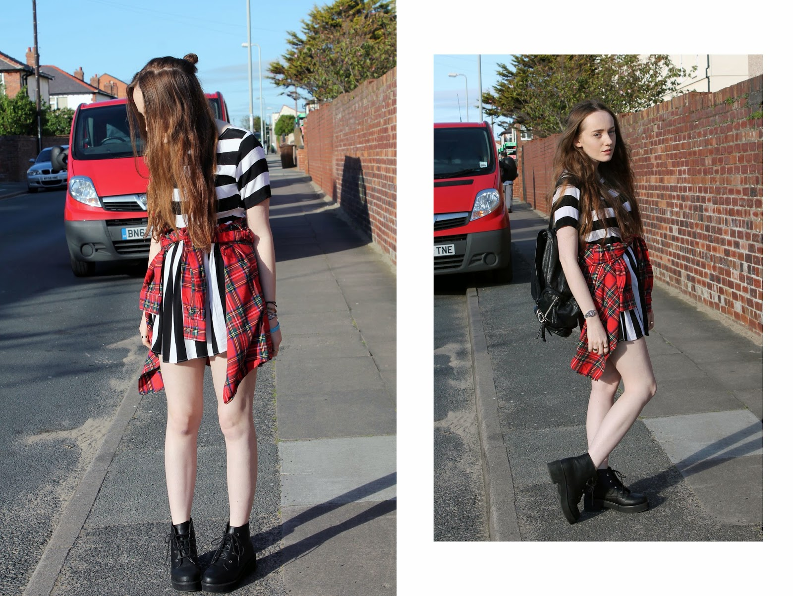 half up half down topknot, hipster hair, hipster hairstyle, motel rocks monochrome stripey smock skater dress, tartan shirt, shirt wrapped around waist, knotted flannel shirt, grunge style, modern grunge fashion, asos boots, revolution ankle boots review