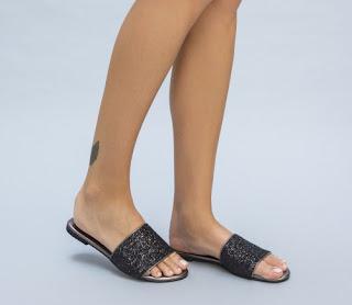 papuci de vafa de femei negri ieftini