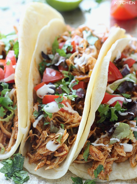 SLOW COOKER CILANTRO LIME CHICKEN TACOS #lunch #food