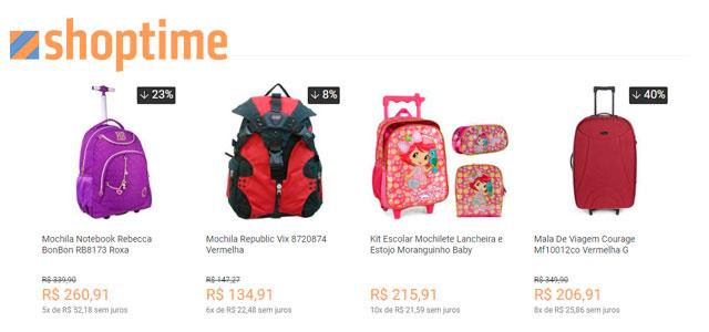 mochilas para sua família no shoptime