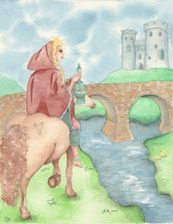 Mercurian Horse and Medieval Rider Watercolor Illustration