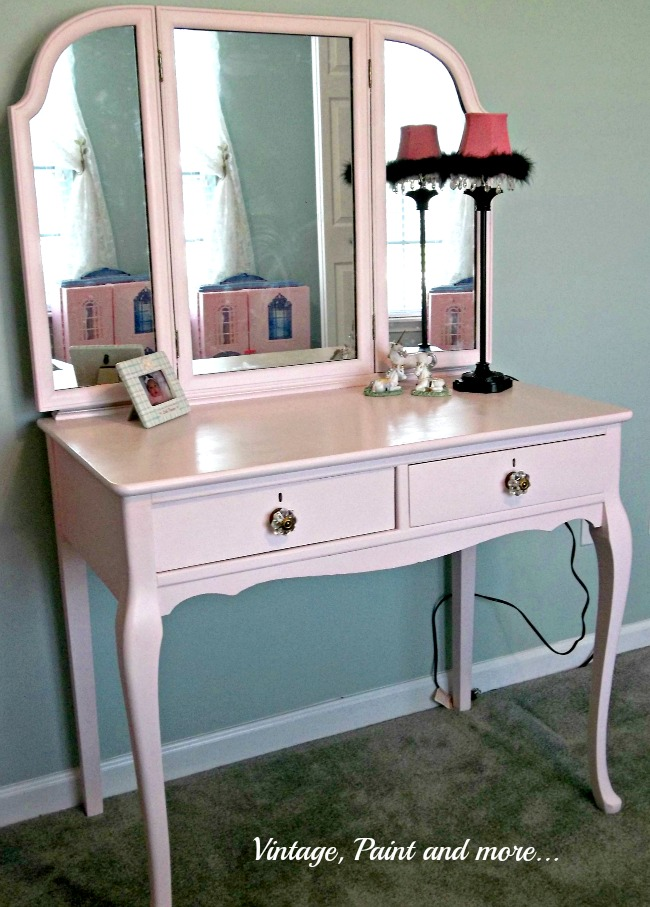 Vintage, Paint and more.. pink chalk painted vintage vanity for little girls room