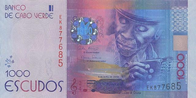 Cape Verde 1000 Escudos banknote 2014 Composer and musician Codé de Dona