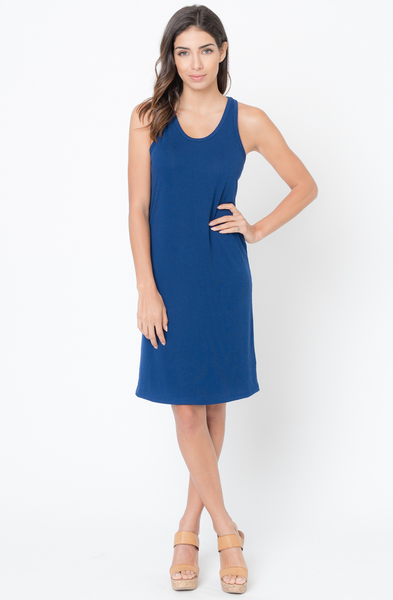 Buy Now Navy Scoop Neck Ribbed Tank Dress Online -Final Sale- $20 -@caralase.com
