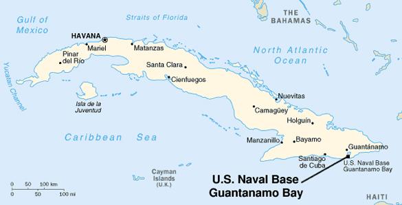 Ubicación de Guantánamo. El testigo vio que algunos ovnis se movían dentro y fuera del agua.