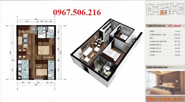 Thiết kế căn hộ 57m2: 2 ngủ+ 2 vệ sinh dự án The Vesta