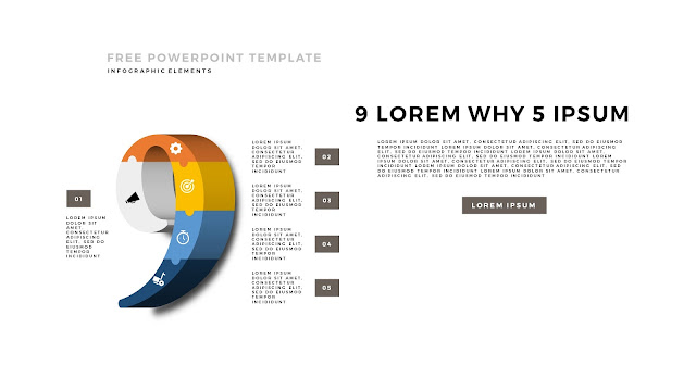 3D Puzzle Infographic Elements For PowerPoint Template with Number 9 in White Background