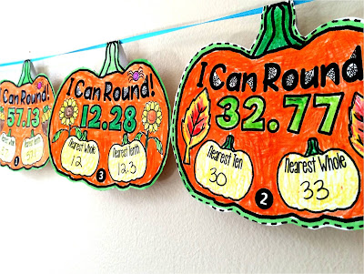 Fall themed Math pennant for rounding numbers