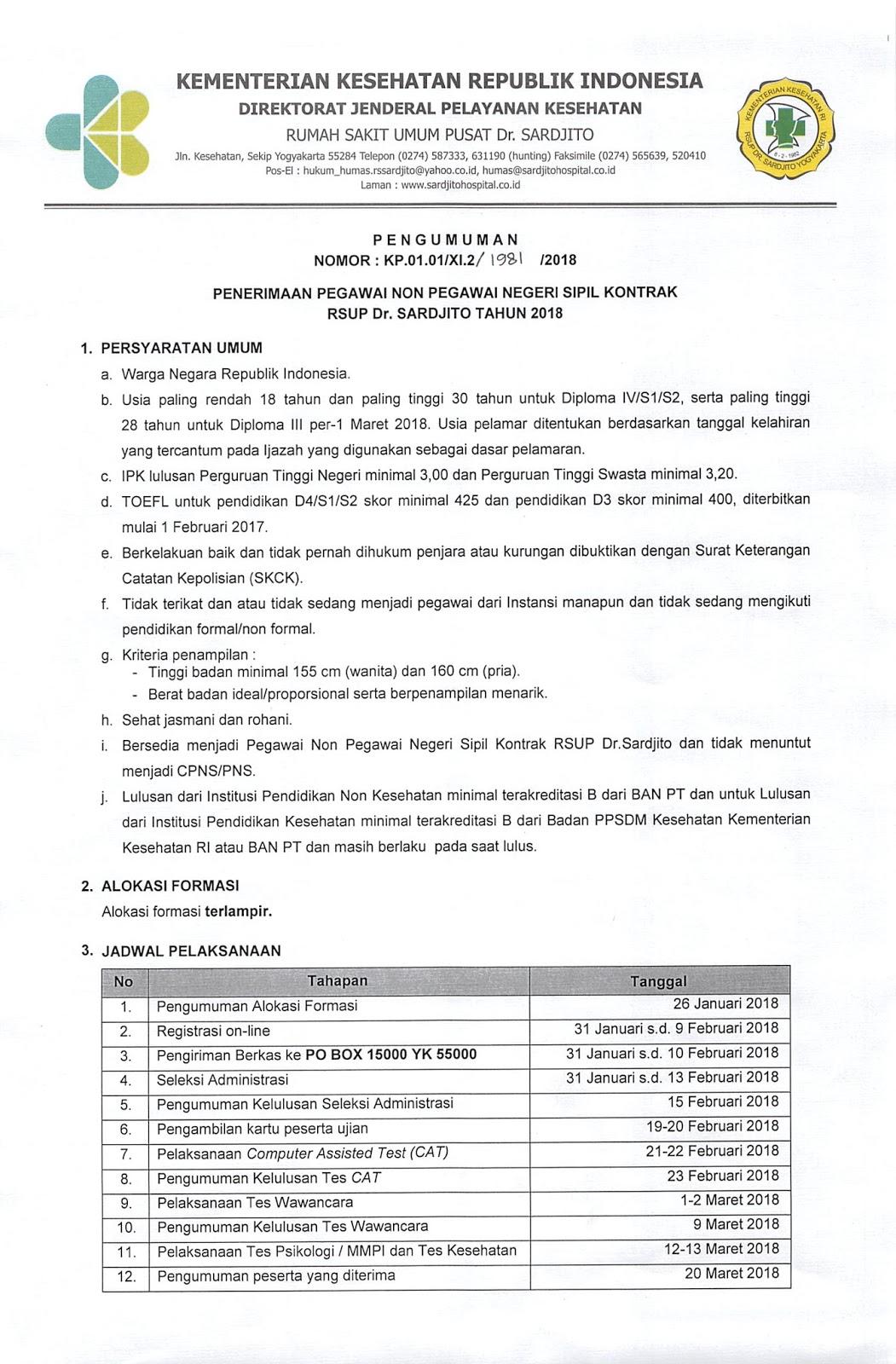 Rekrutmen Non Pns Rsup Dr Sardjito Tahun Anggaran 2018 65 Formasi Rekrutmen Lowongan Kerja Bulan Februari 2021
