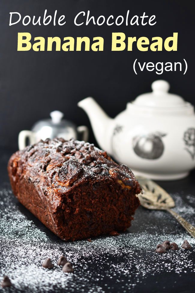 This delicious vegan Double Chocolate Banana Bread is simple to make and would make a lovely addition to Thanksgiving or Christmas Day brunch. #vegan #bananabread #baking #holiday #Christmas #chocolate