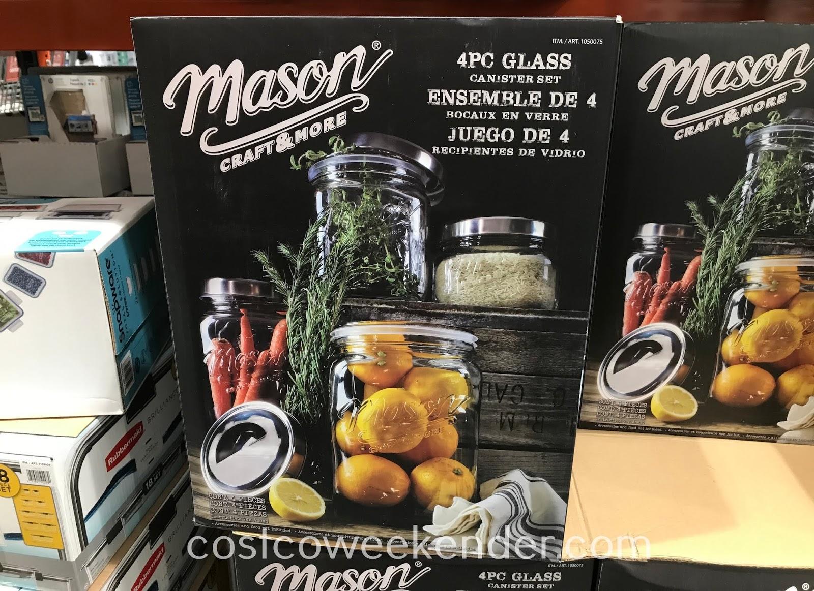 Store flour, pasta, treats in Oversized Mason Jars
