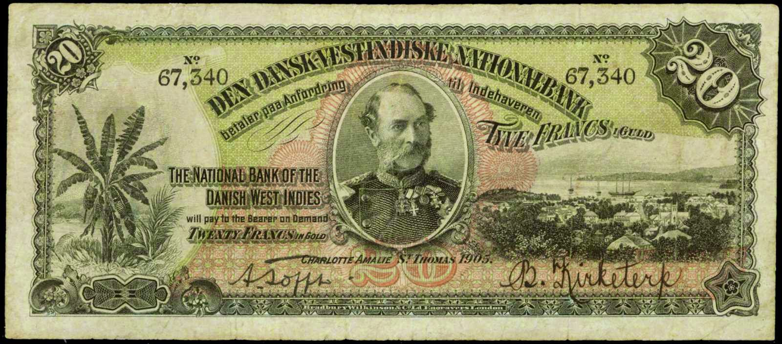 Danish West Indies banknotes 20 Francs in Gold note 1905