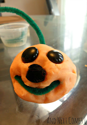 Play dough jack-o-lanterns for Halloween fun from And Next Comes L